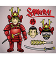 cartoon samurai with the complete gears vector image vector image