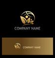 organic nature people world gold logo vector image