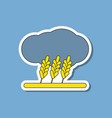Paper sticker on stylish background wheat cloud vector image