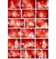 Set of bright shiny red Christmas abstract vector image