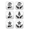 Hands with christmas buttons - santa claus tree vector image vector image
