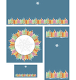 Set of Christmas cards with snowy old town vector image