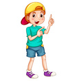 Boy with a cap pointing his fingers vector image