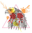 Zentangle stylized Eagle in triangle frame with vector image