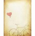 Vintage valentines with bicycle and heart baloon a vector