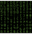 Green dot digital font and symbol set vector image