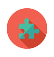 Green Puzzle Flat Icon over Red vector image