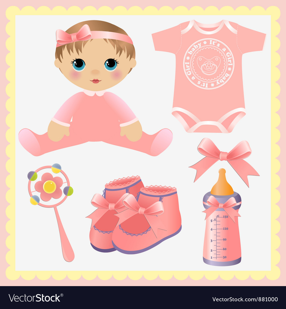 Cute collection of baby design elements vector