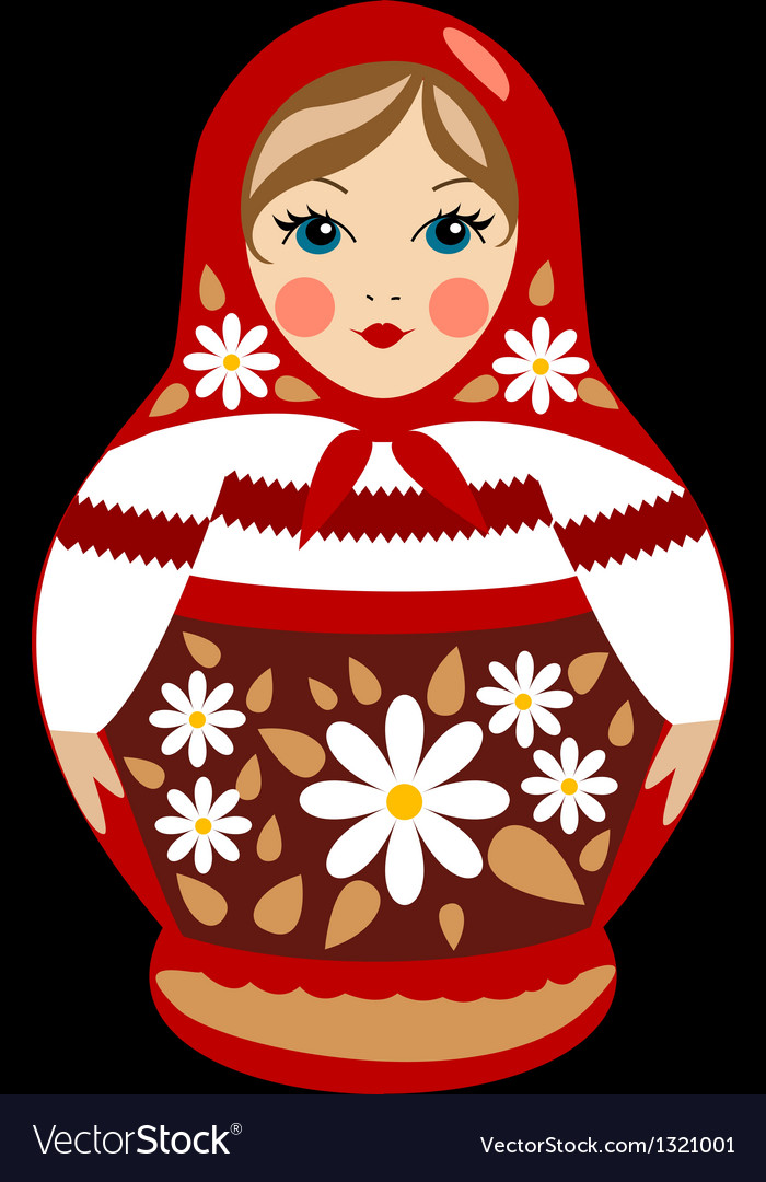 Red russian doll detailed vector