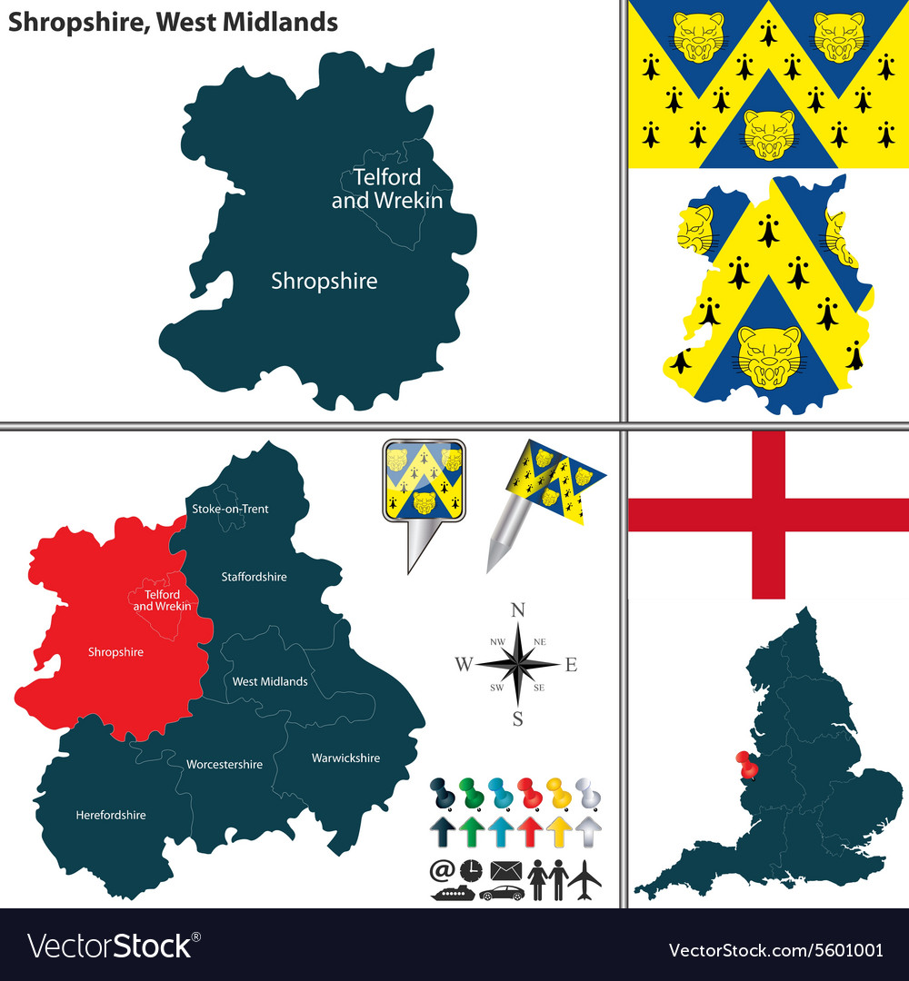 Shropshire west midlands vector