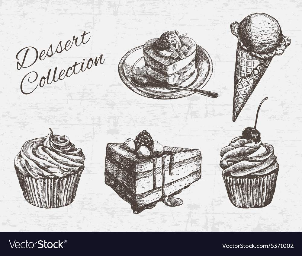 Hand drawn dessert collection vector