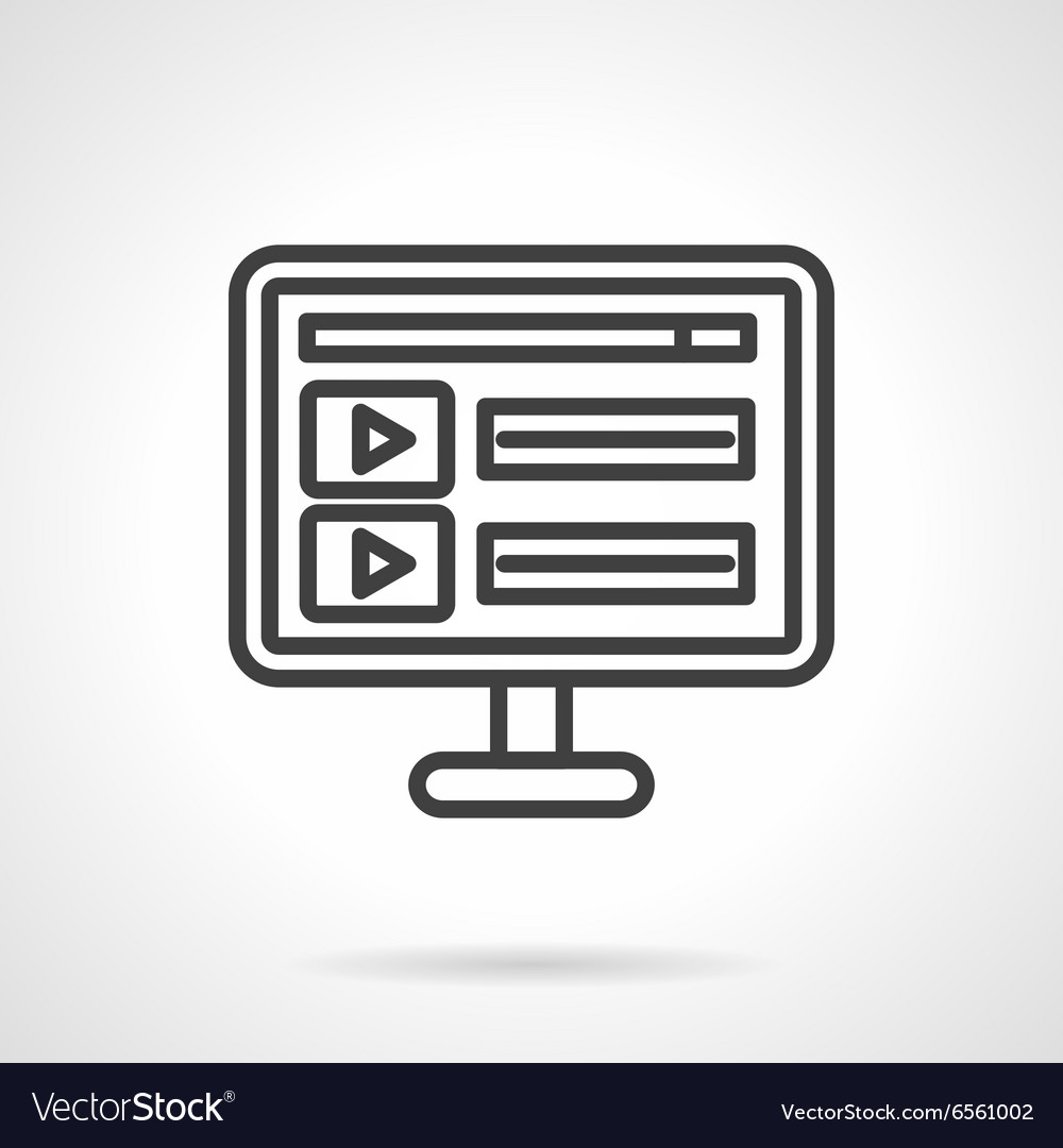 Online video black line icon vector