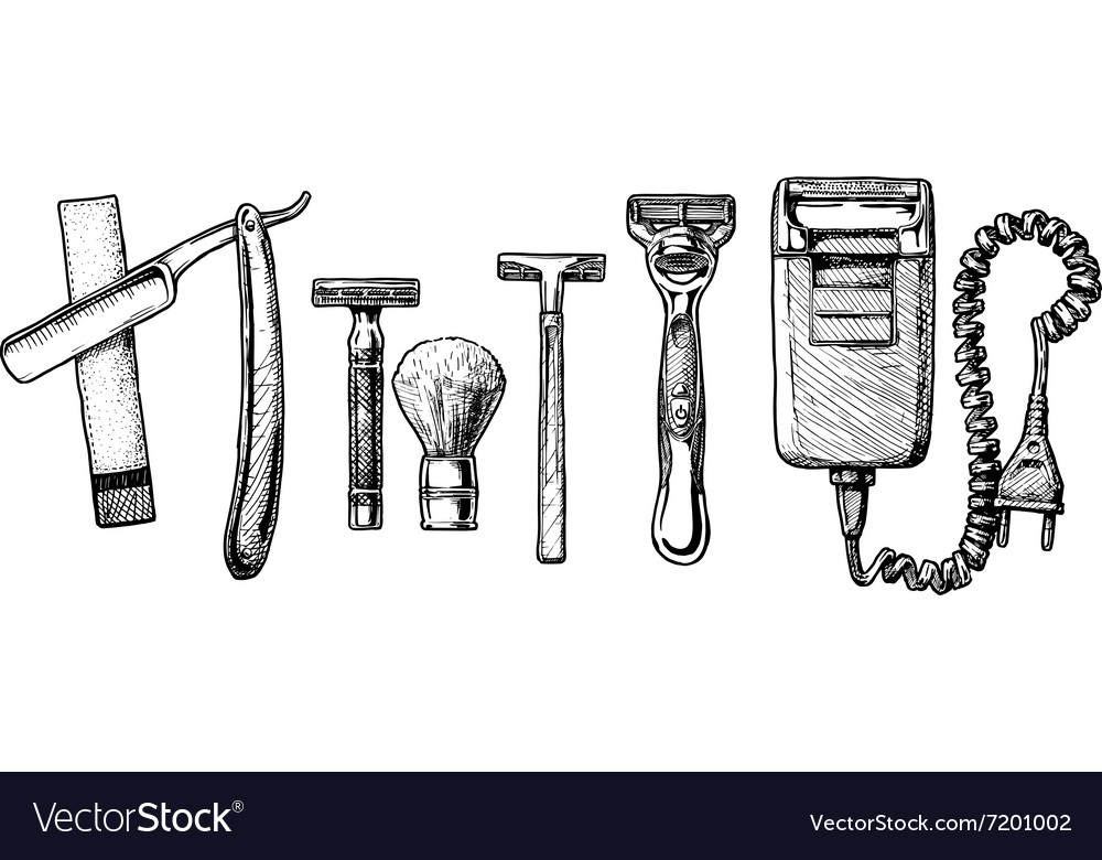 Set of shaving accessories vector