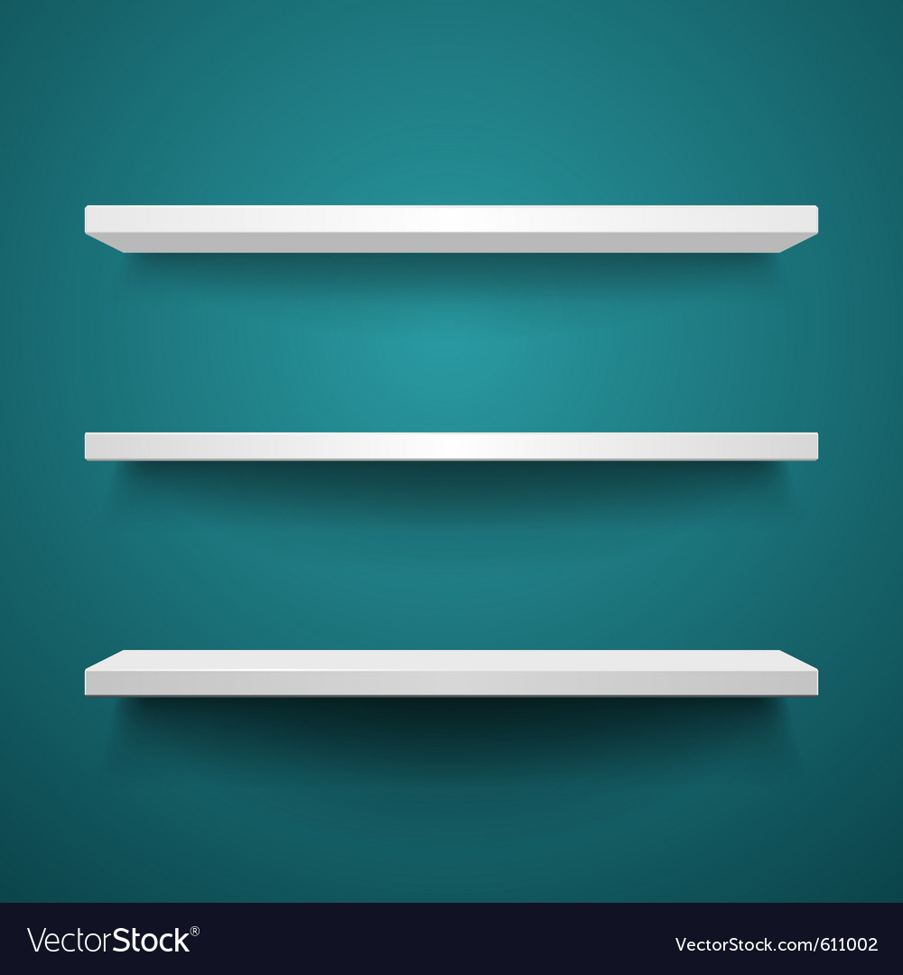 White shelves on wall vector
