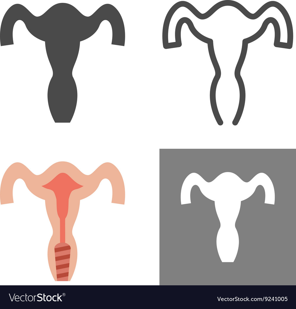 Gynecology icon set outline flat female vector