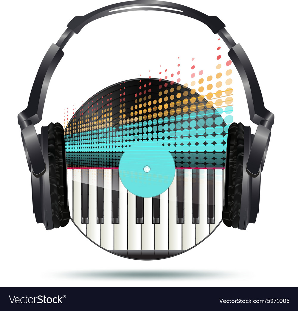 Vinyl headphones vector