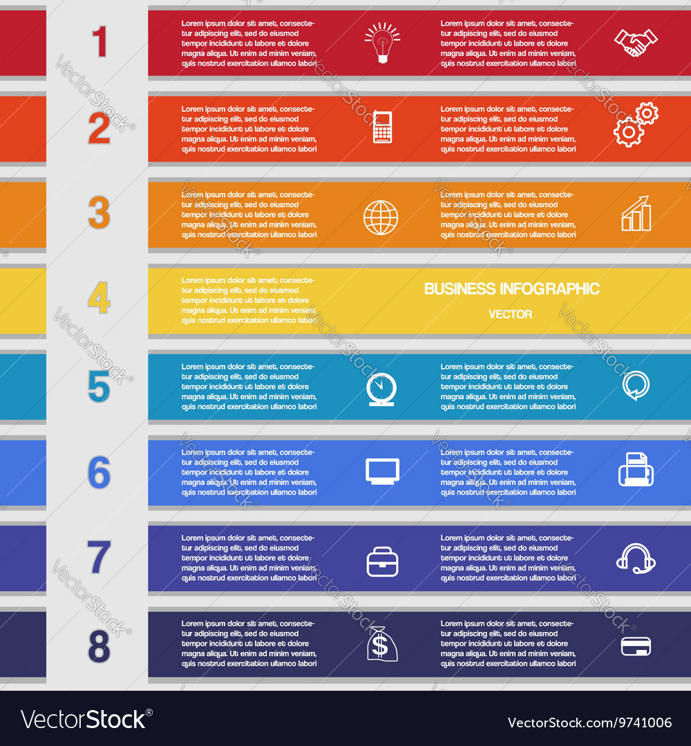 Eight colour strips template for infographics vector