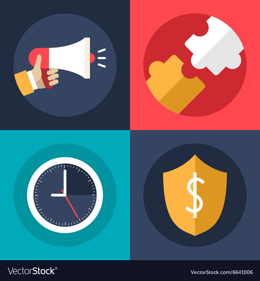 Set of flat design business icons promotion vector