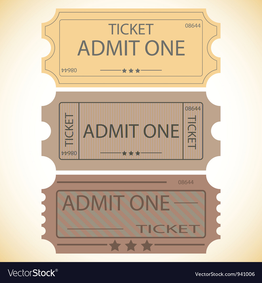 Three tickets vector