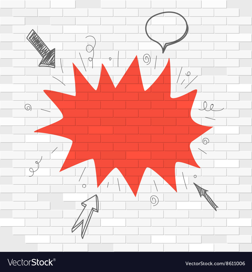 White brick wall and red blot label template for a vector