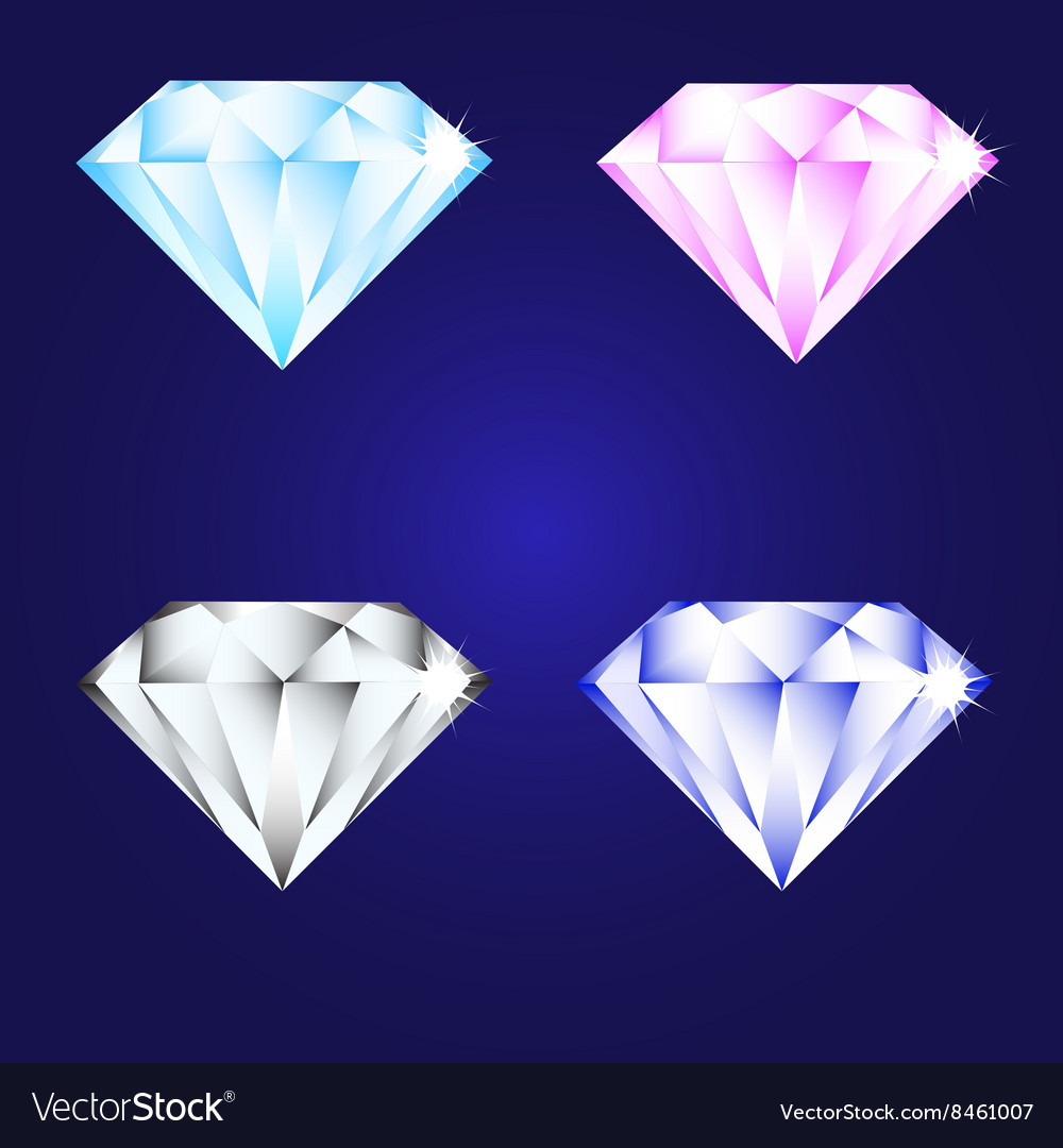 3d luxury diamond brilliant icon set different vector