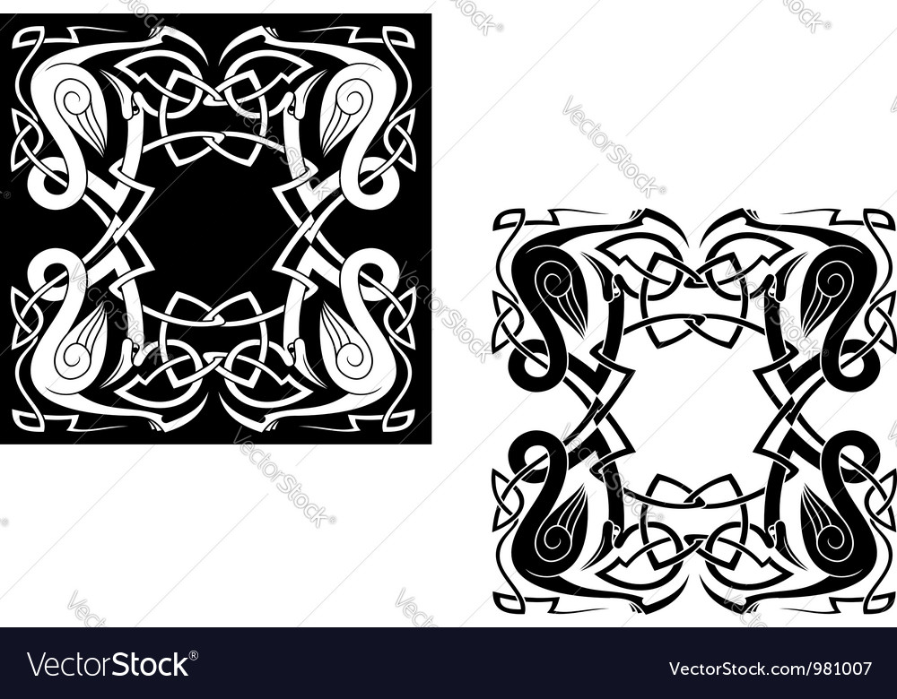 Herons with celtic ornamental elements vector