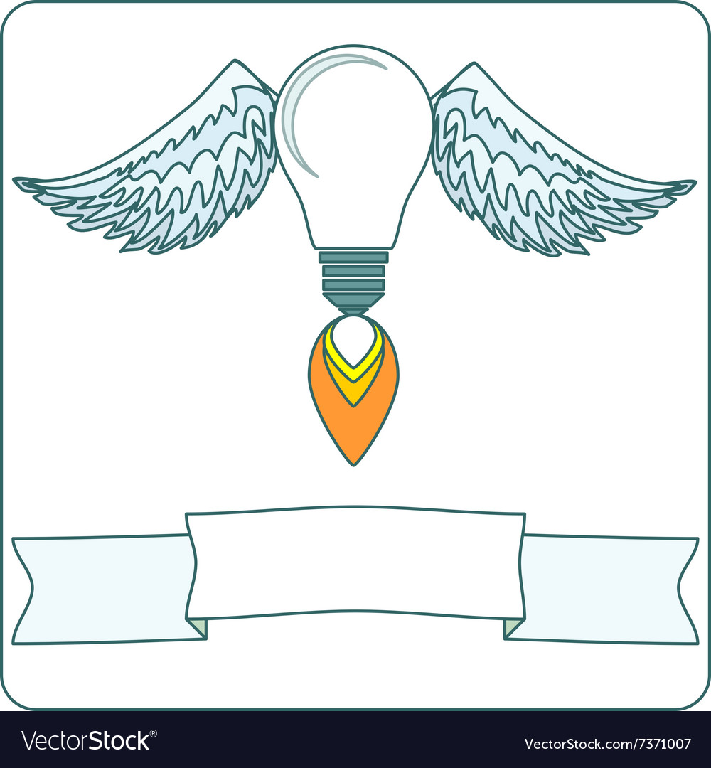 Lightbulb with wings vector