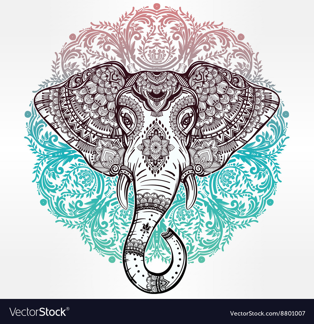 Tribal elephant with tribal ornaments vector