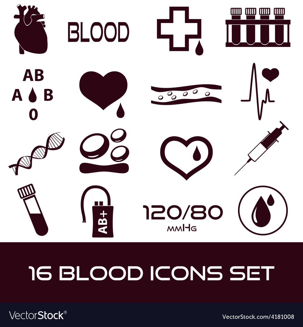 16 simple blood icons set eps10 vector