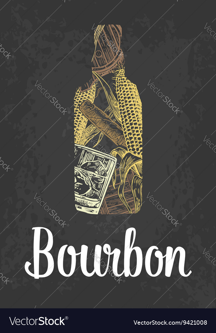 Bourbon bottle with glass ice cubes barrel vector