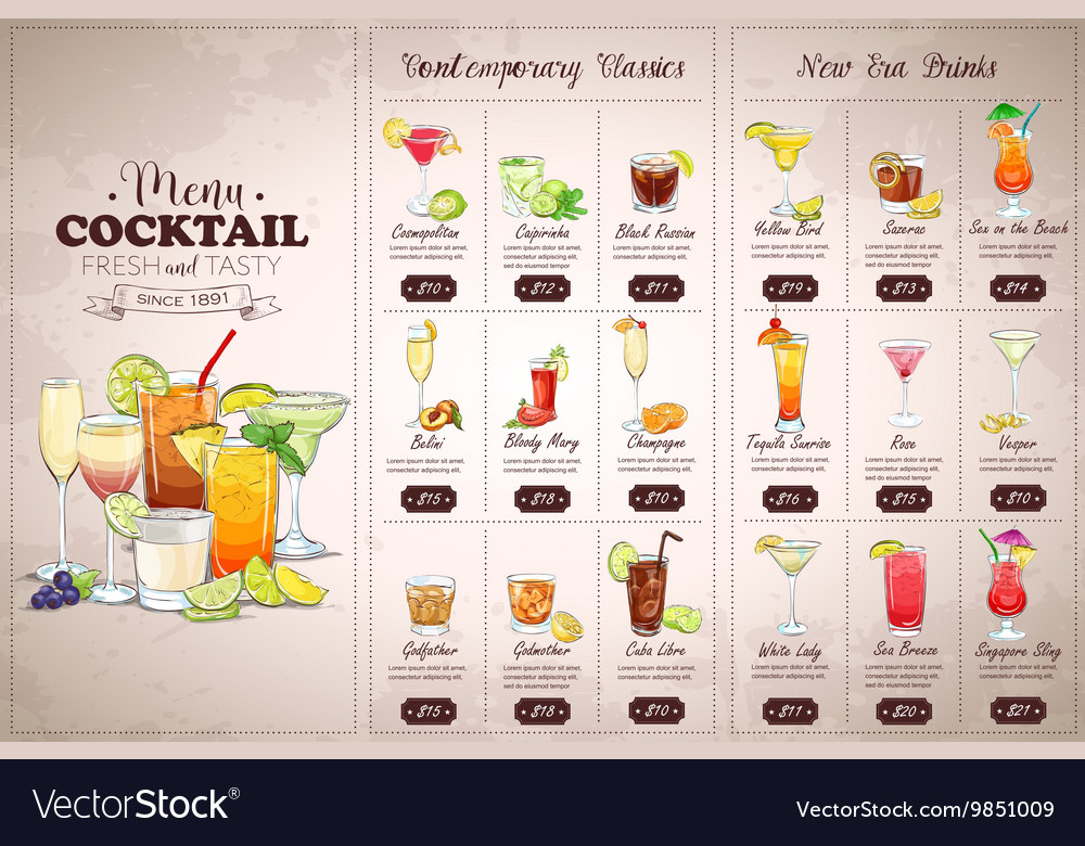 Front drawing horisontal cocktail menu vector