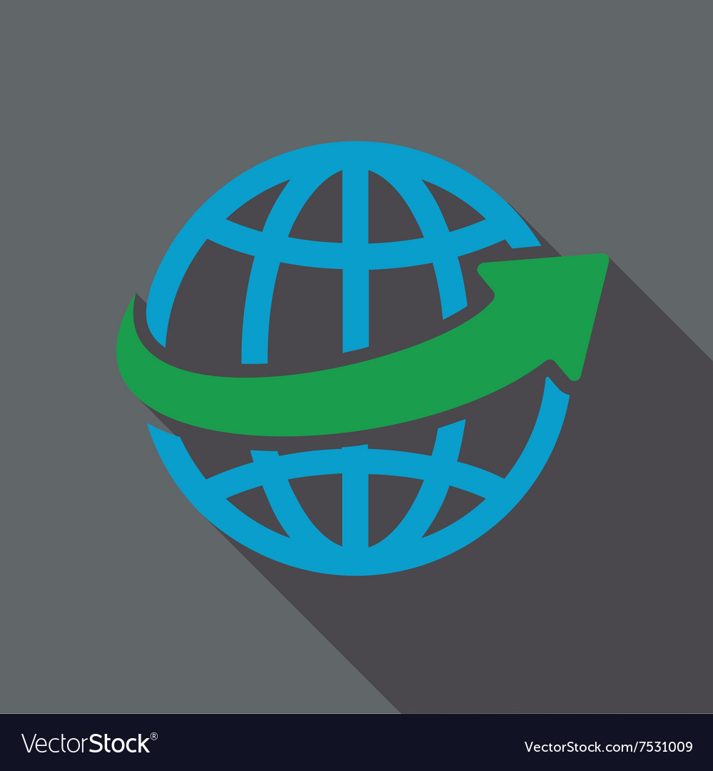 Worldwide flat long shadow square icon vector