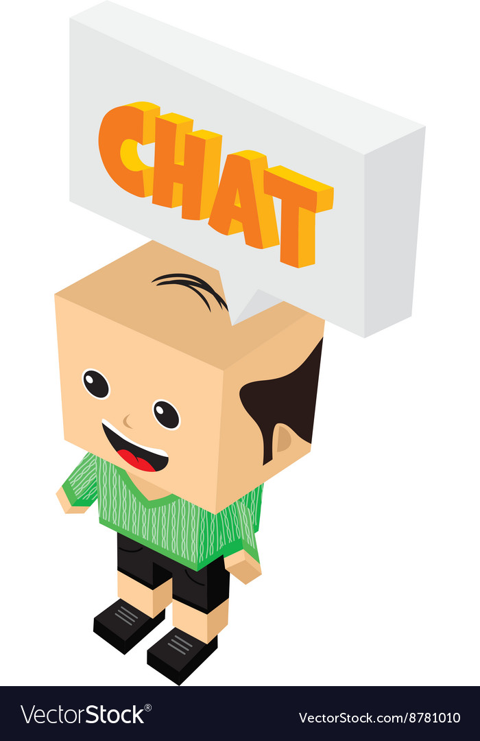 Chat bubble cartoon character isometric theme vector