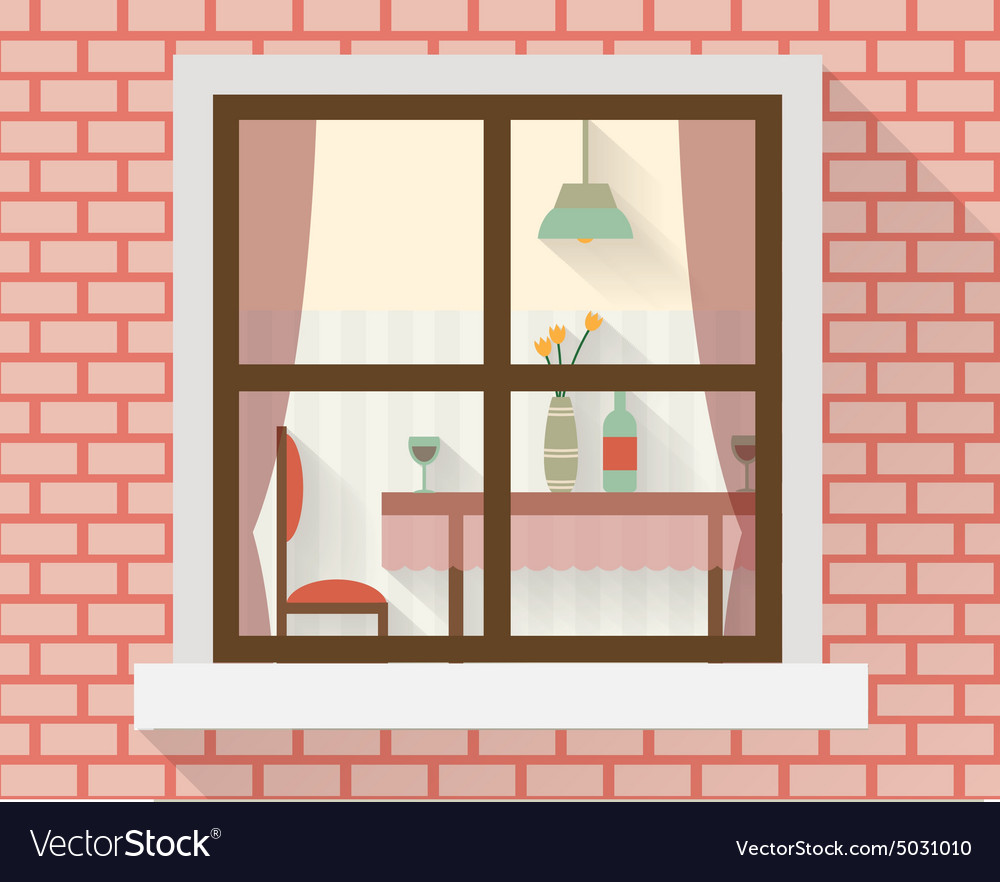 Dining table through the window vector