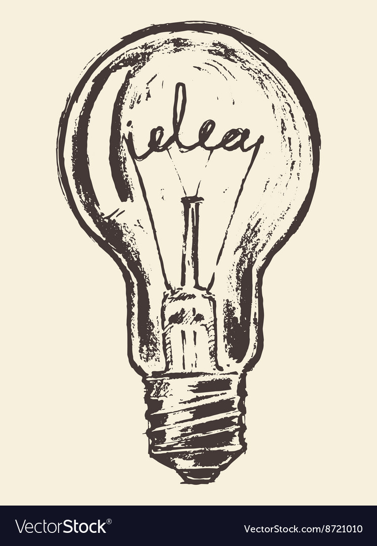 Drawn light bulb idea concept vintage vector