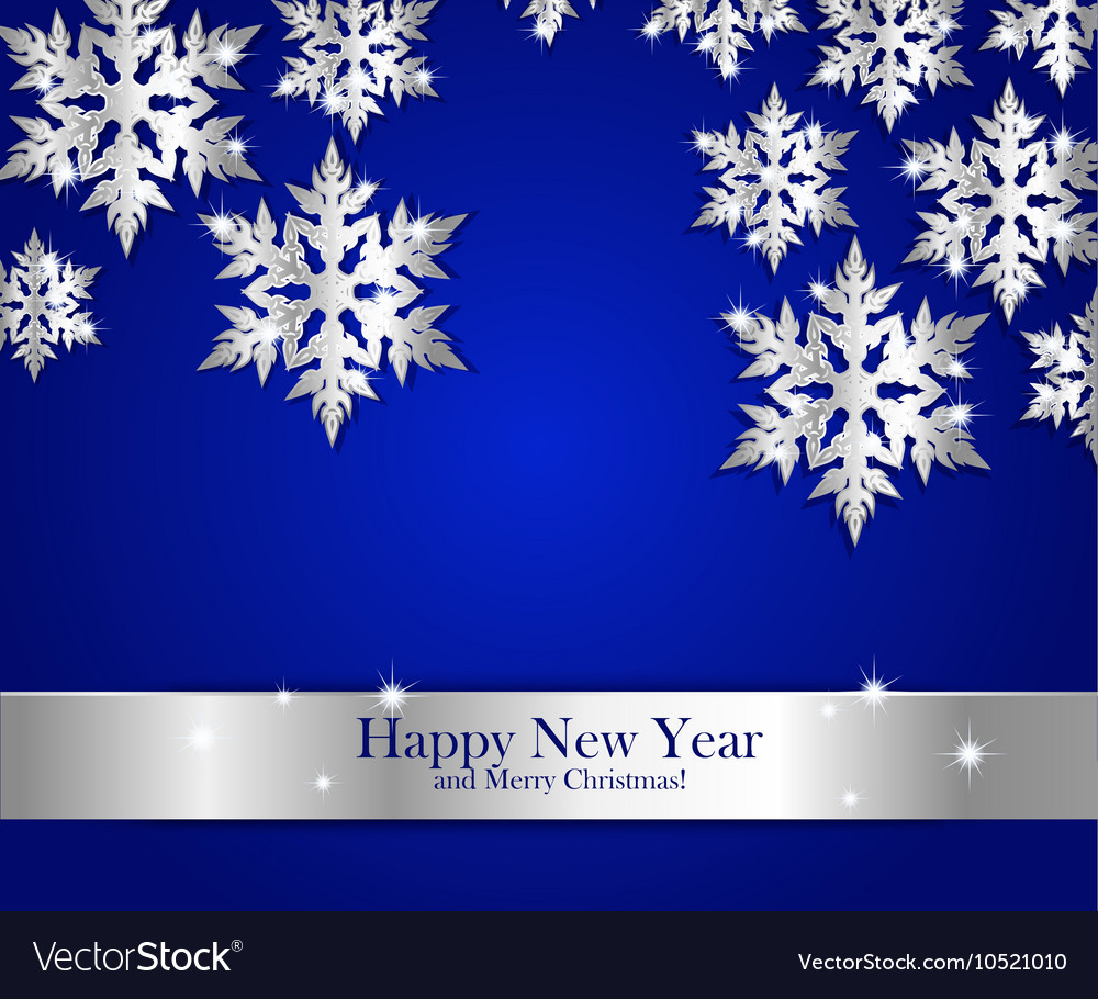 New year greeting banner with silver snowflakes vector