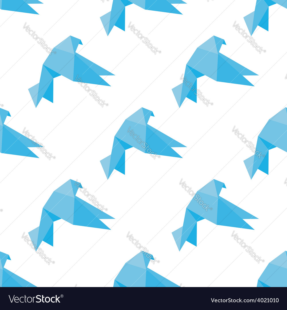 Seamless origami doves or pigeons pattern vector