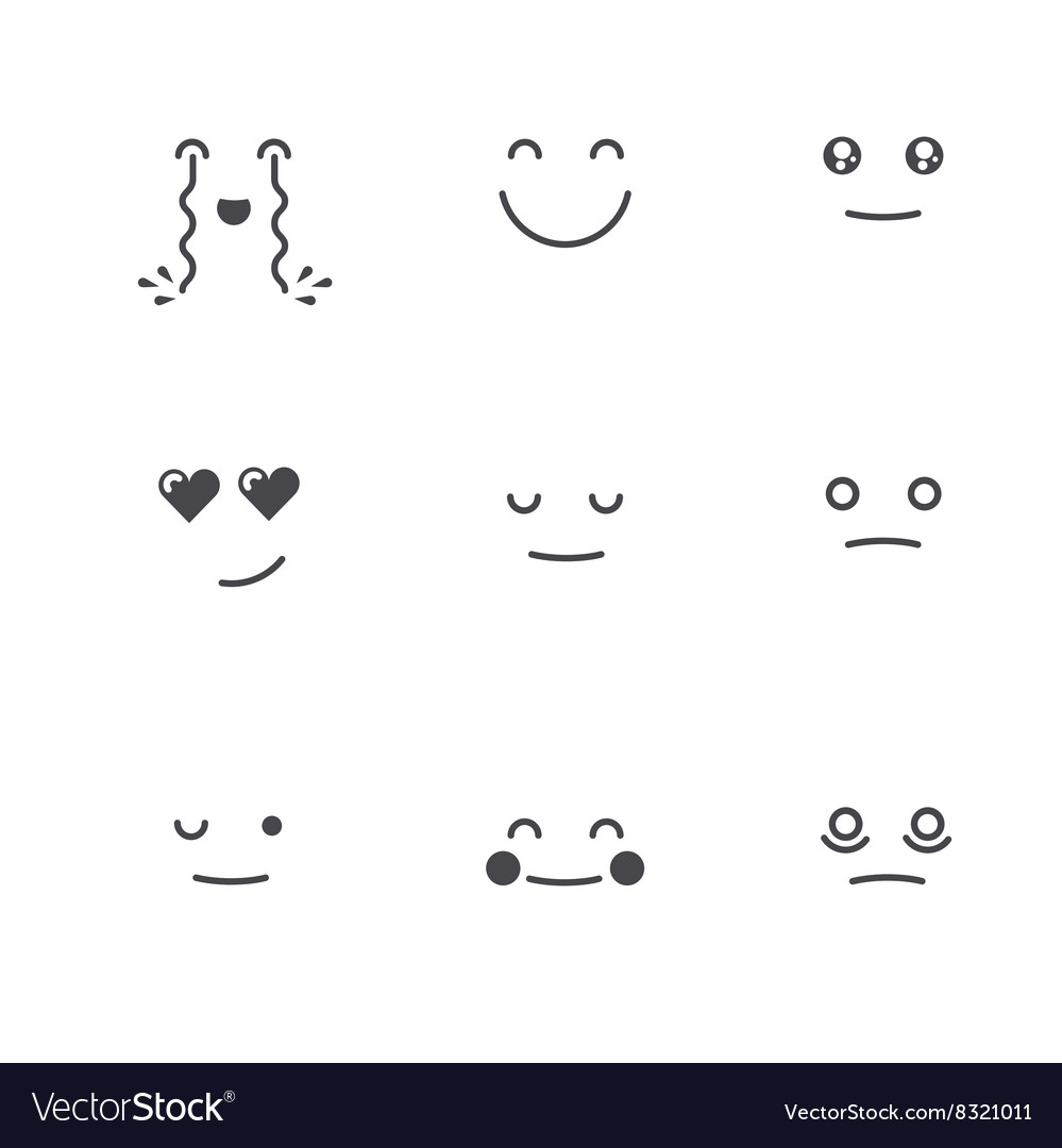 Emoticons collection set of emoji monochrome thin vector