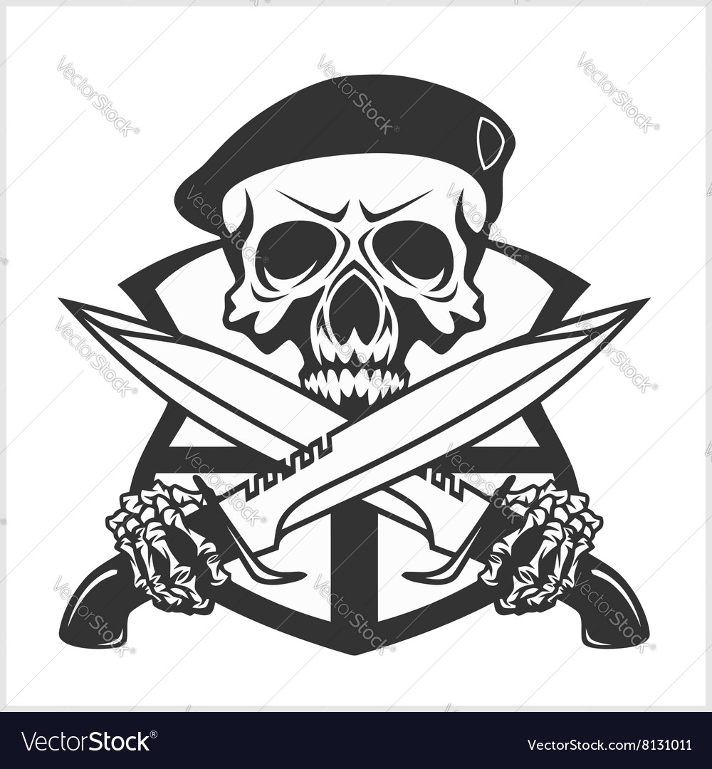 Military skull  chevron with daggers vector
