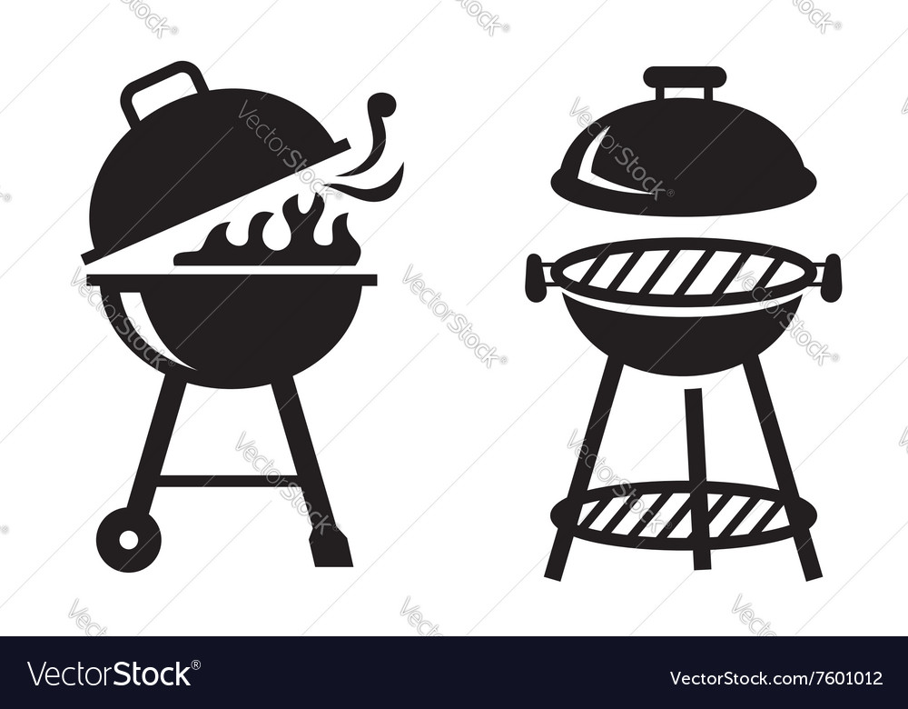 Black bbq grill icons vector