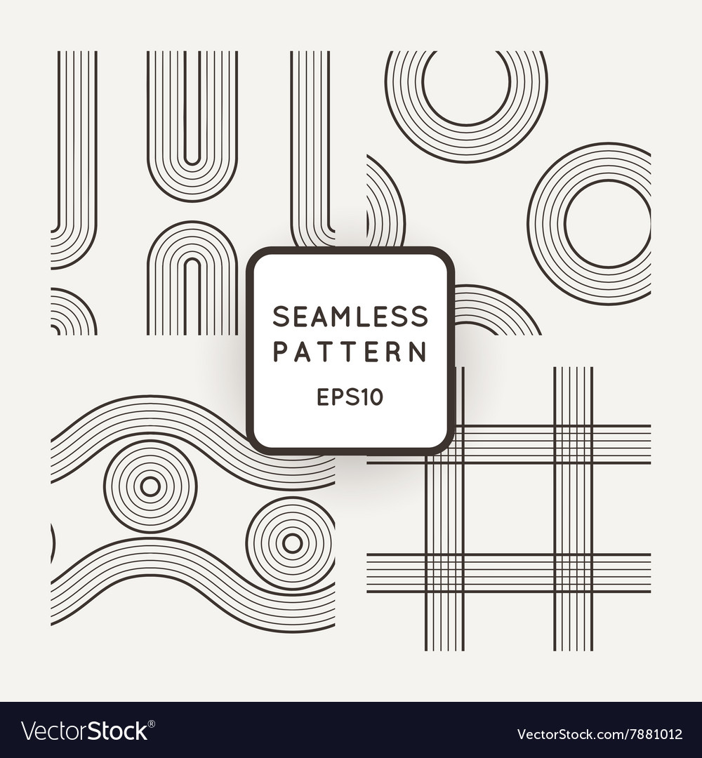 Set of seamless patterns of striped vector