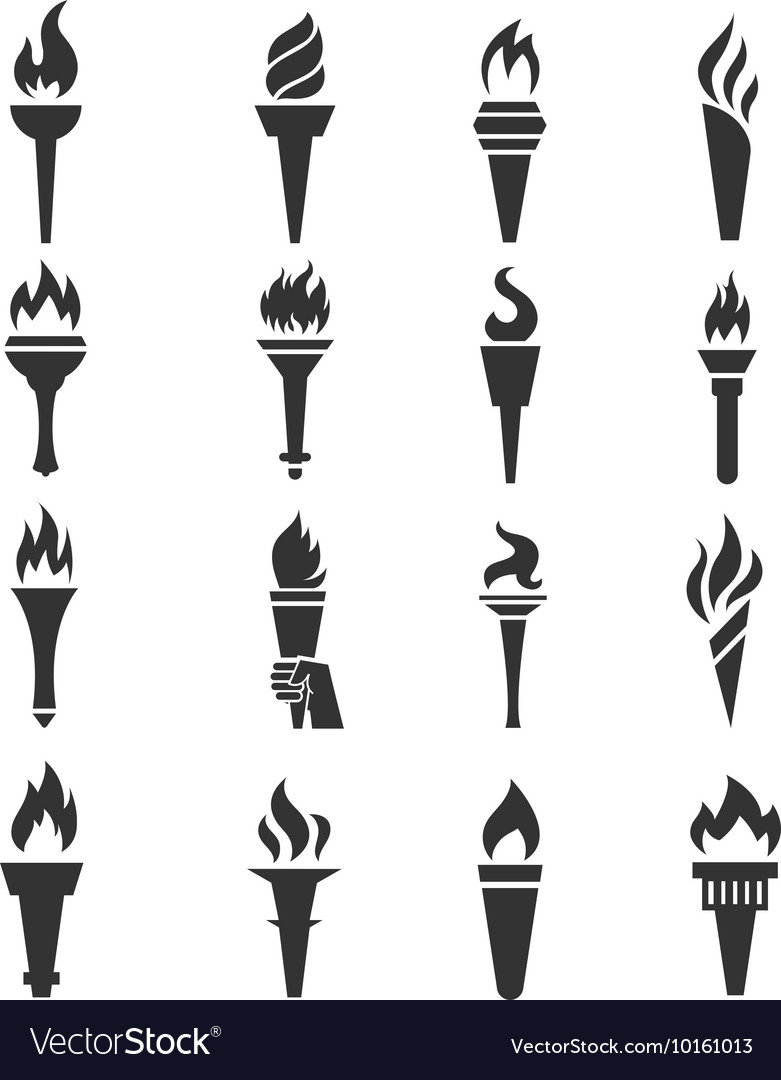 Games torch icons vector