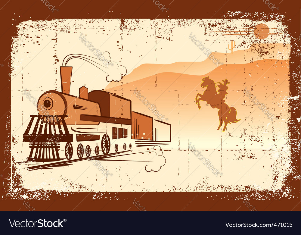 Cowboy and locomotive vector