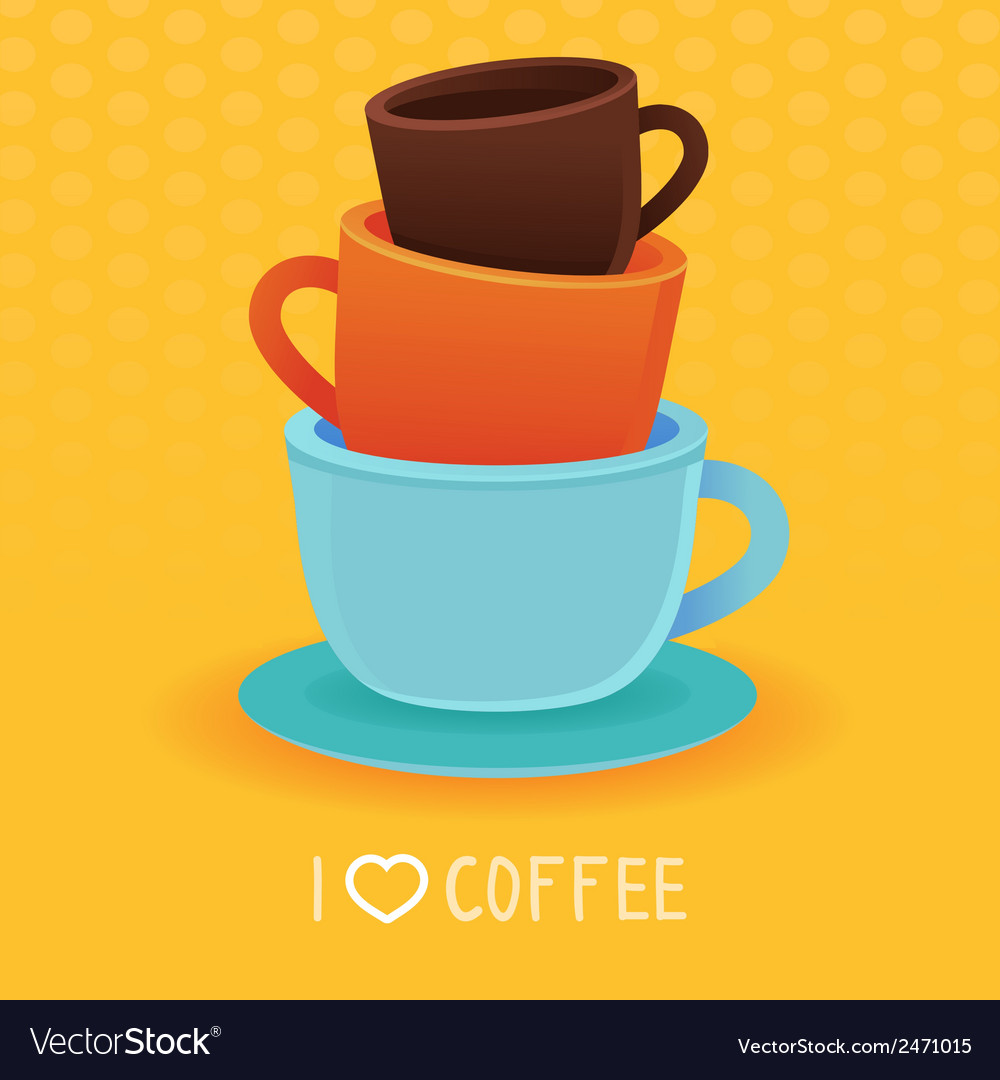 Stack of coffee mugs and cups vector