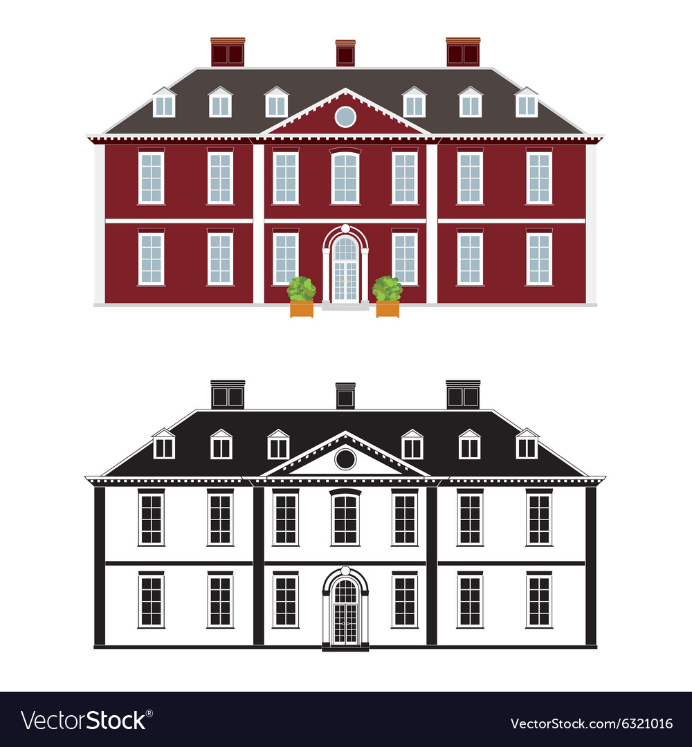 Queen anne style mansion vector