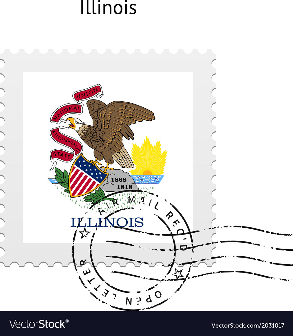 State of illinois flag postage stamp vector
