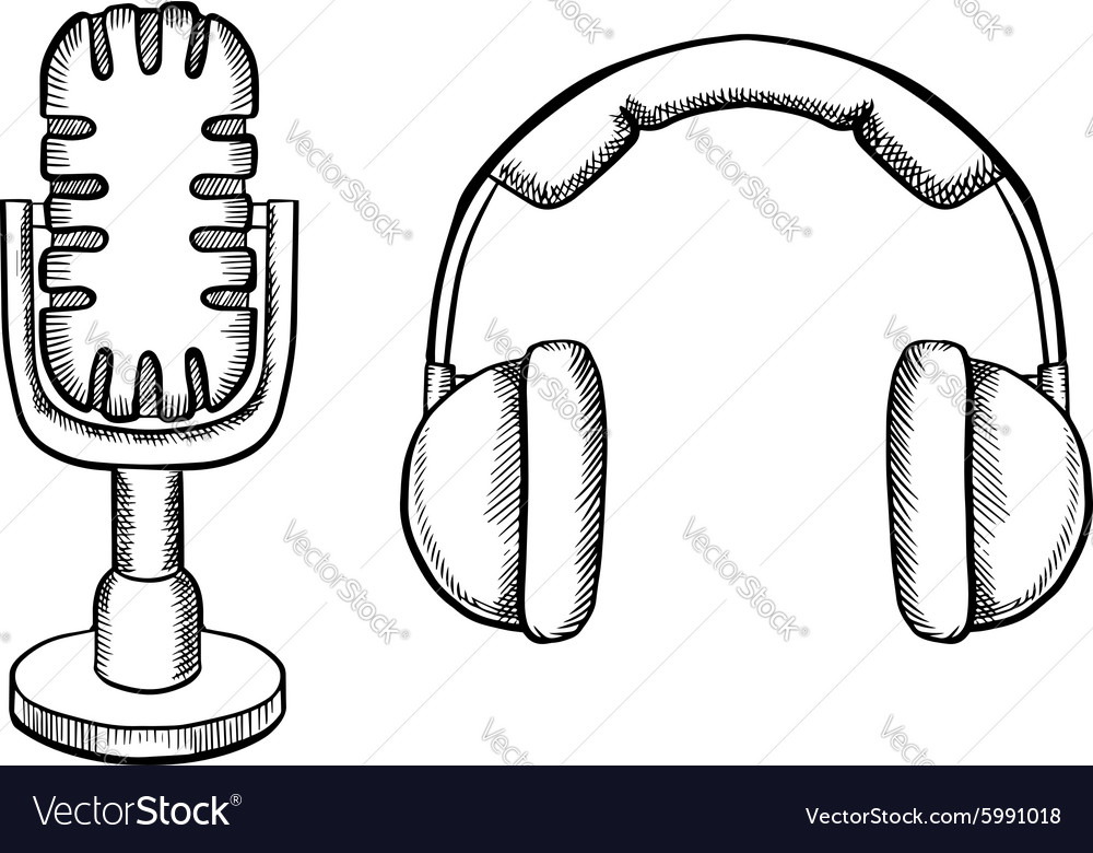 Retro headphones and desktop microphone vector