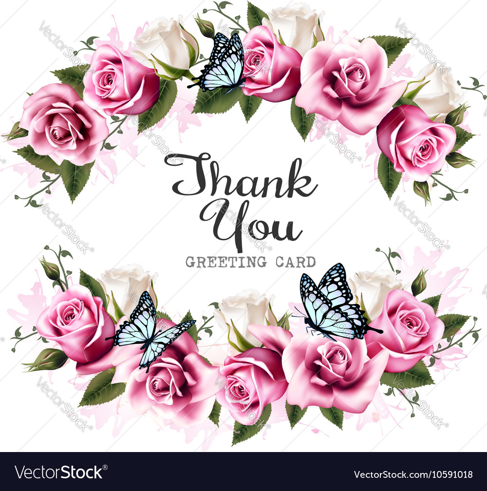 Thank you background with beautiful roses and vector