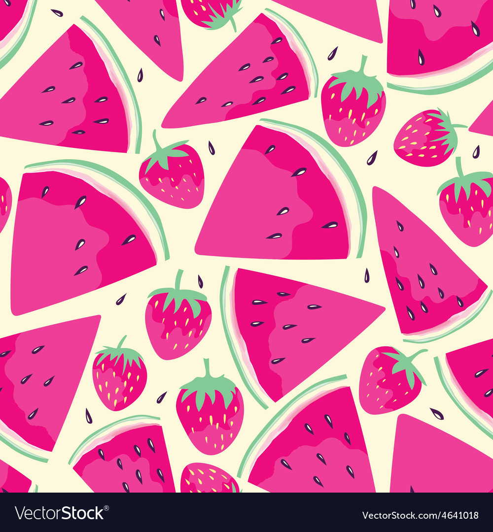 Watermelon slices seamless pattern vector