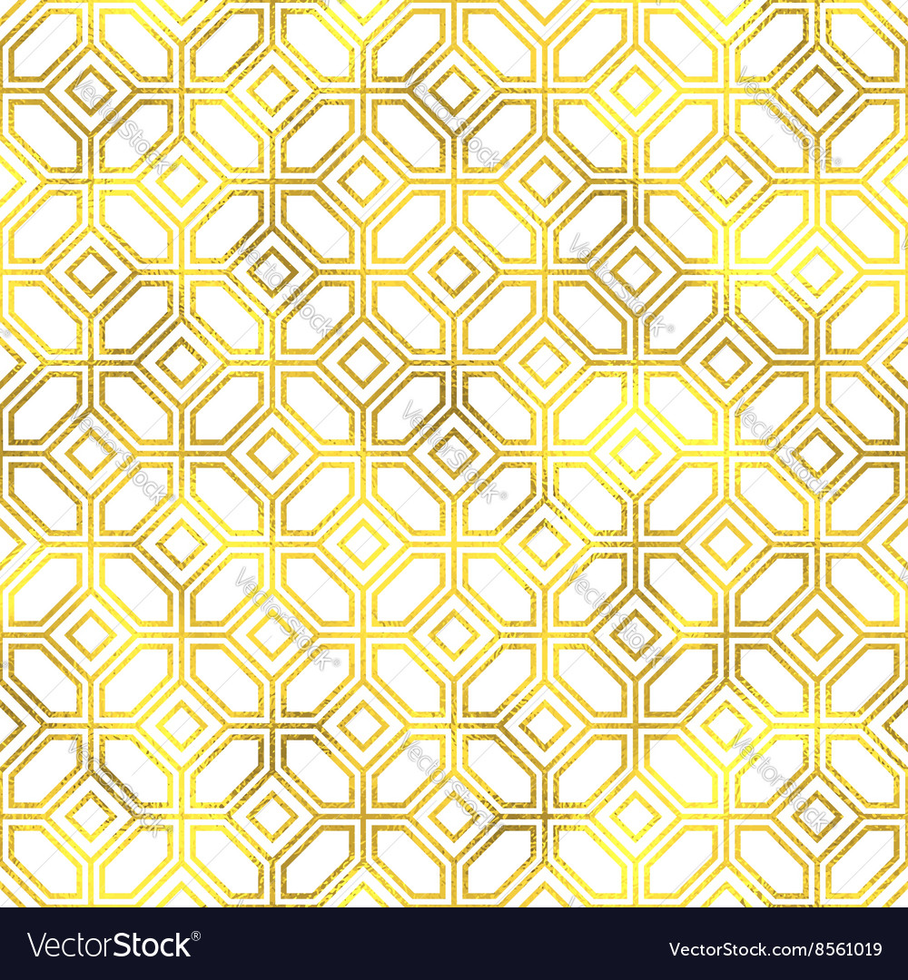 Seamless geometric textured golden pattern vector